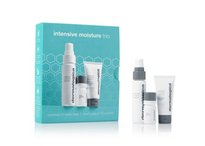 Photo showing the packaging of intensive moisture trio kit by Dermalogica